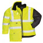 Portwest Hi Vis Traffic Jacket 7-in-1 Visibility ANSI Reflective Work Coat US427