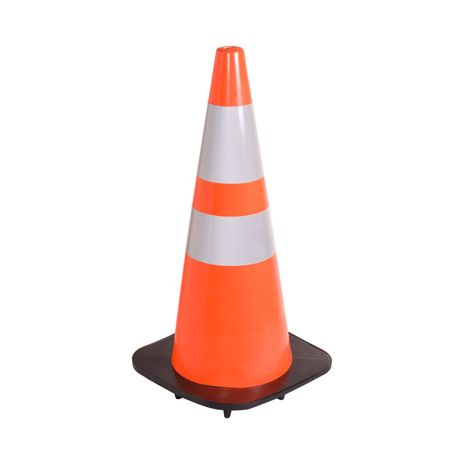 Orange Traffic Cone with Reflective Collars - 28""