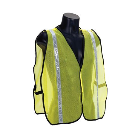 Economy Lime Mesh Vest with Silver Stripes