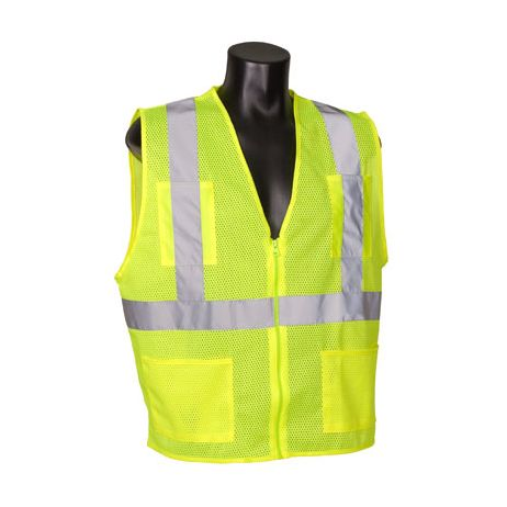 ANSI Class 2 Lime Mesh Vest with Zipper and 4 Pockets