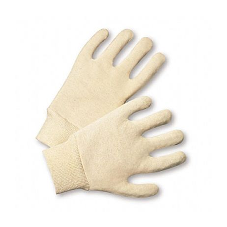 Reversible Mediumweight White Jersey Gloves/Sold by the dozen.