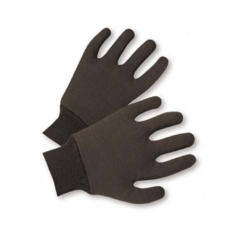 Reversible Mediumweight Brown Jersey Gloves/Sold by the dozen.