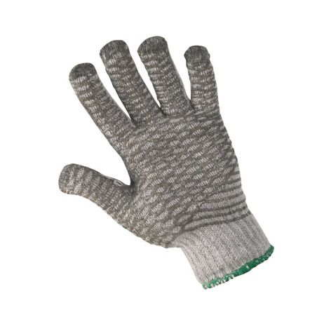 Kriss-Cross X-Grip PVC Coated Gray String Gloves - Sold by the dozen.