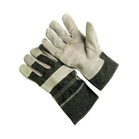 Economy Blue Denim Patch Leather Palm Gloves/Sold by the dozen.