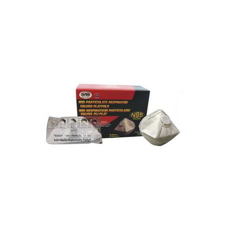 SAS 8618 N95 Flat Fold Particulate Respirator with Value