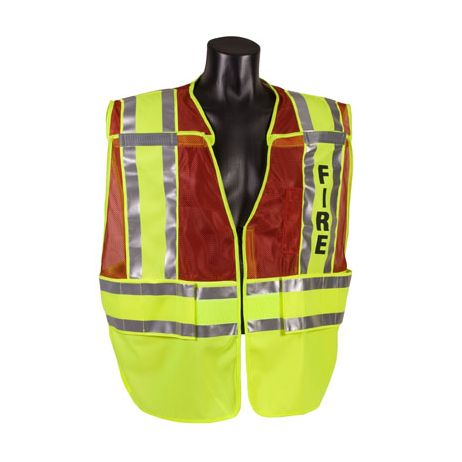 ANSI Class 2 - FIRE Red/Lime Public Safety Vests