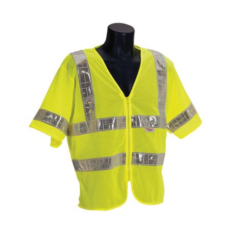 ANSI Class 3 Lime Mesh Vest with Half Sleeves & Zipper